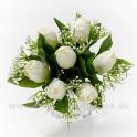 Tulipány s gypsofilou biela
