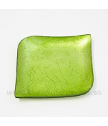 Tácka sklenená zelená slza  13cm