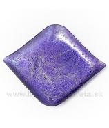 Tácka sklenená fialová slza  13cm