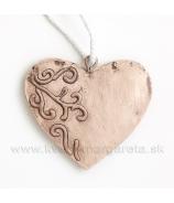 Srdce 6ks svetlookrová ornamentom 5cm