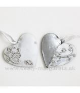 Srdce s ornamentom 5cm - 6ks Biely pozink