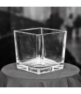 Sklenená kocka číra 11cm