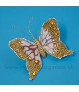 Motýľ s kryštálmi štipec zlatý
