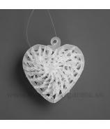 Pletené srdce sklo 5cm 4ks
