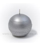 Sviečka guľka ONYX striebro 6cm