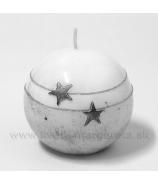 Sviečka guľka hviezdy striebro 6cm