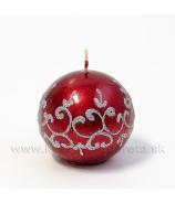 Sviečka guľka Tiffany červená 6cm