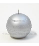 Sviečka guľka ONYX strieborná 8cm