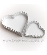 Tácka srdce plechové 2 kusy biele