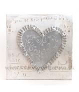Obraz na plátne Prútené strieborné srdce s drahokamami 40cm