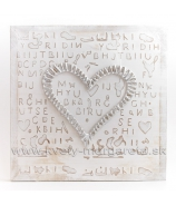 Obraz na plátne Srdce s nápismi zahnuté 50cm