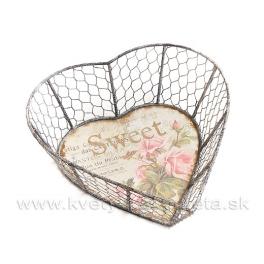 Drôtený košík v tvare srdca SWEET ROSE