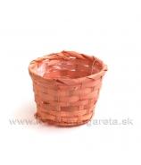 Košík okrúhly ploche prútie - marhuľová