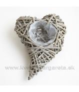 Srdce zahnuté aranžovacie sivé 25cm