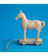Koník vozíček na kolieskach 15cm krémový