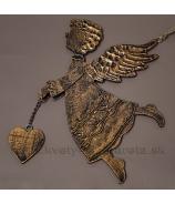 Medený drevený anjel so srdcom 19cm
