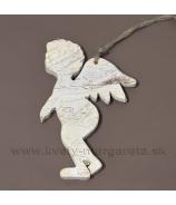 Drevený anjel závesný profil biely