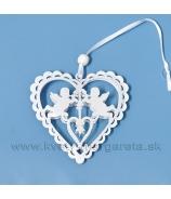 Srdce so vzorom obojstranne vypuklé s čipkou 10cm