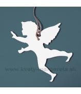Letiaci anjel - profil biely 22cm