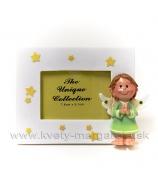 Fotorámček anjelik s hviedičkami 11x9 cm