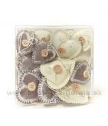 Plechové srdiečka s gombíkom Kakao Milk 12 kusov