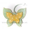 Drevený závesný motýľ dvojvrstvový zeleno-žltý 9cm
