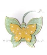 Drevený závesný motýľ dvojvrstvový  VIOLET 9cm