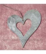 Drevené srdce vykrojené Antik sivá 9cm