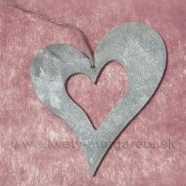 Drevené srdce vykrojené Antik sivá 23cm