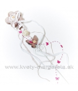 Kvet ozdobený zápich s korálkami a stuhami 60cm