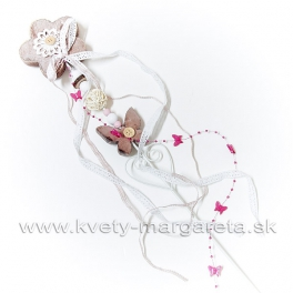 Kvet ozdobený zápich s korálkami a stuhami 60cm - zľava 50%