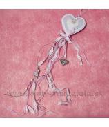 Srdce s čipkou a gombíkom rúžové