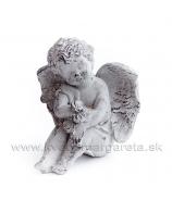 Kameninový záhradný Anjel modliaci sa, sivá patina 17cm