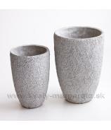 Kameninové kvetinové valce, sivá patina 11cm a 10cm sada