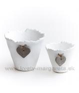 Kameninové kvetinové vázy, sivá patina 23cm a 20cm sada