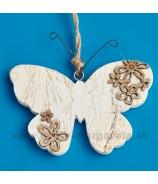 Srdce drevené s drevenými kvietkami 12cm biele