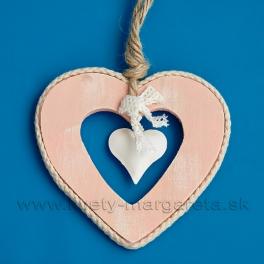Drevené srdce s plechovým srdiečkom 13cm Rúžovo - biele