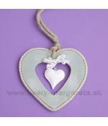 Srdce DUO plech s krajkou biela Antik patina 12cm