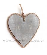 Srdce hladké drevo lemované povrazom sivé 13cm