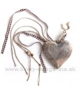 Masívne srdce štíhle so stuhami 14cm Antique Naturál