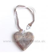 Masívne srdce so stuhami a korálkami 12cm Antique Naturál