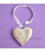 Masívne srdce so stuhami a háčikom 12cm Antique Naturál