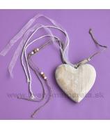 Masívne srdce so stuhami a háčikom 12cm Antique Biela