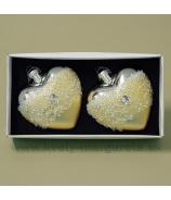 Sklenené srdce s krýštálmi 8cm, sada 2 kusy, bielo-strieborné