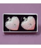 Sklenené srdce s krýštálmi 8cm, sada 2 kusy, zlato-strieborná