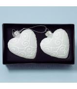 Sklenené srdce s krýštálmi 8cm, sada 2 kusy, rúžovo-strieborná