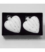 Sklenené srdce so špirálovým ornamentom 8cm, sada 2 kusy, matná biela