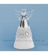 Sklenený anjel s krýštálmi 12cm, bielo-strieborný