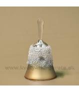 Sklenený anjel s krýštálmi 12cm, zlato-strieborný