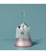 Sklenený zvonček s krýštálmi 13cm, zlato-strieborný